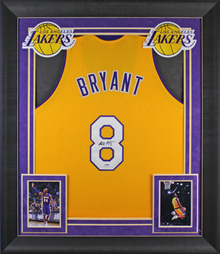 Kobe Bryant Signed Yellow Framed Pro Style Jersey w/ Rookie Signature PSA/DNA